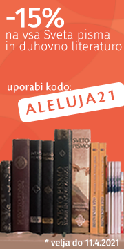 Pohiti! 15% poust na Svetopisemsko literaturo se izteka. Do 11. aprila vam nudimo 15% velikonoèni popust na vse naše izdelke. Veliko je novih. Vpišite kodo ALELUJA21 in živite alelujo, ki pomeni »slava Gospodu«.